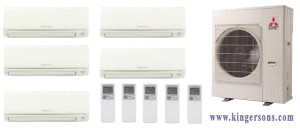 Mitsubishi Five Zone MXZ5C42NA MSZGL06NAU1 x (Two) MSZGL12NAU1 x (Two)  MSZGL15NAU1 Ductless Split Air Conditioner