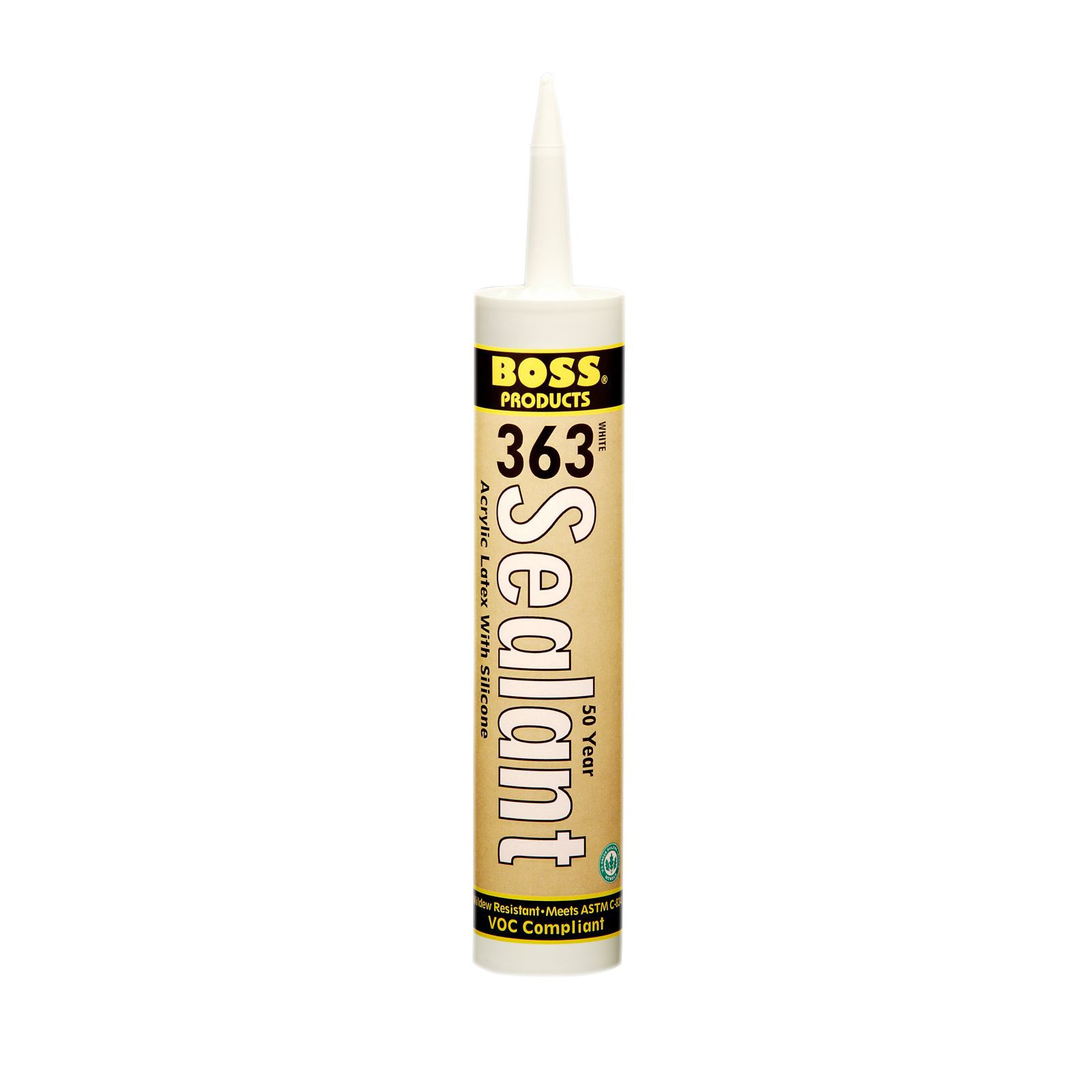 BOSS 02434CL10 -  363 50 Year Sealant Acrylic Latex Caulk With Silicone, Standard cartridge, Clear