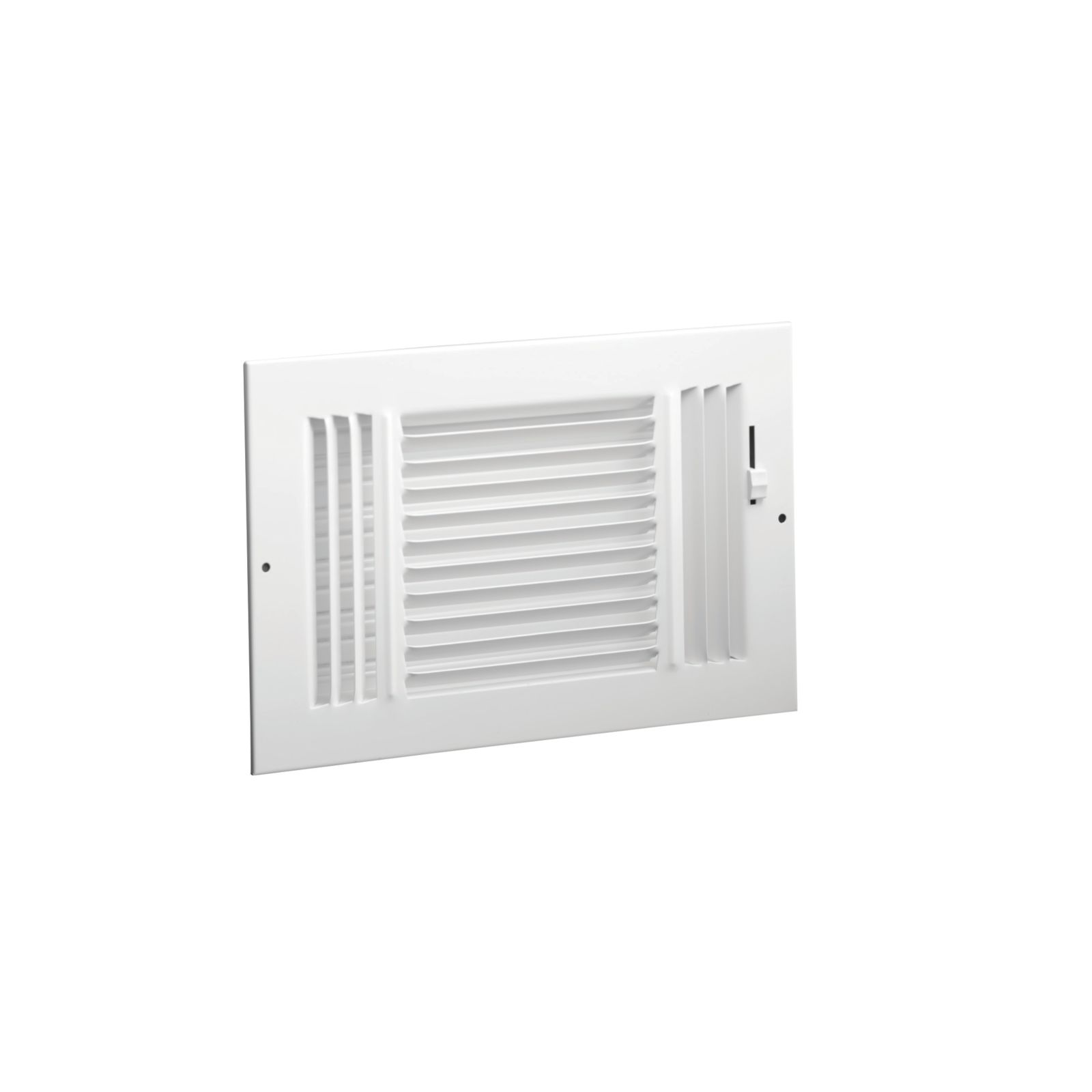 "Hart & Cooley 043876 - #683 Steel 3-Way Sidewall/Ceiling Register, Multi-Shutter Damper with Plastic Handle, White, 14"" X 6"""