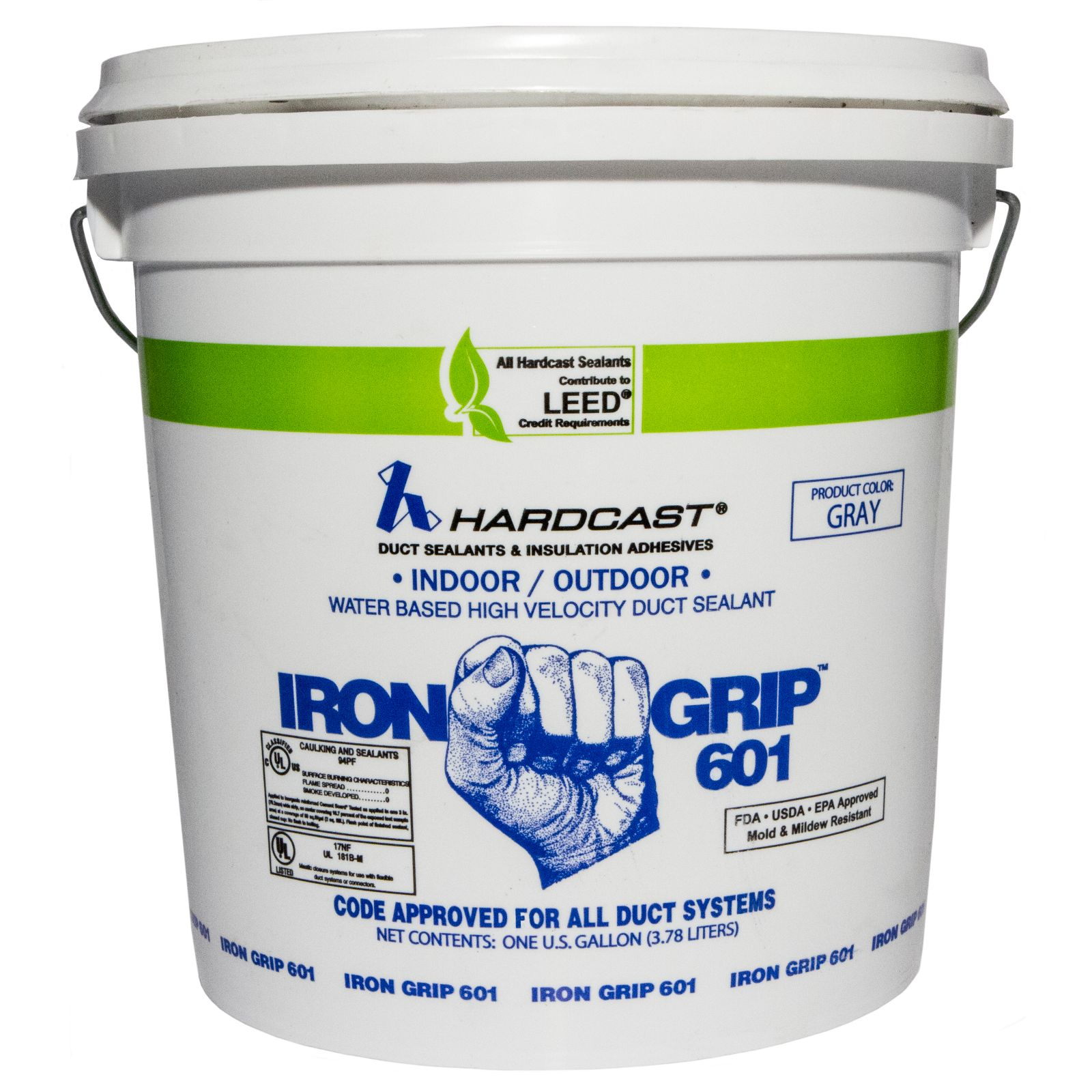 Hardcast/Carlisle 304135 - Iron-Gripa® 601 Premium Indoor/Outdoor Flexible Water Based Duct Sealant. Grey, 1 Gallon Pail