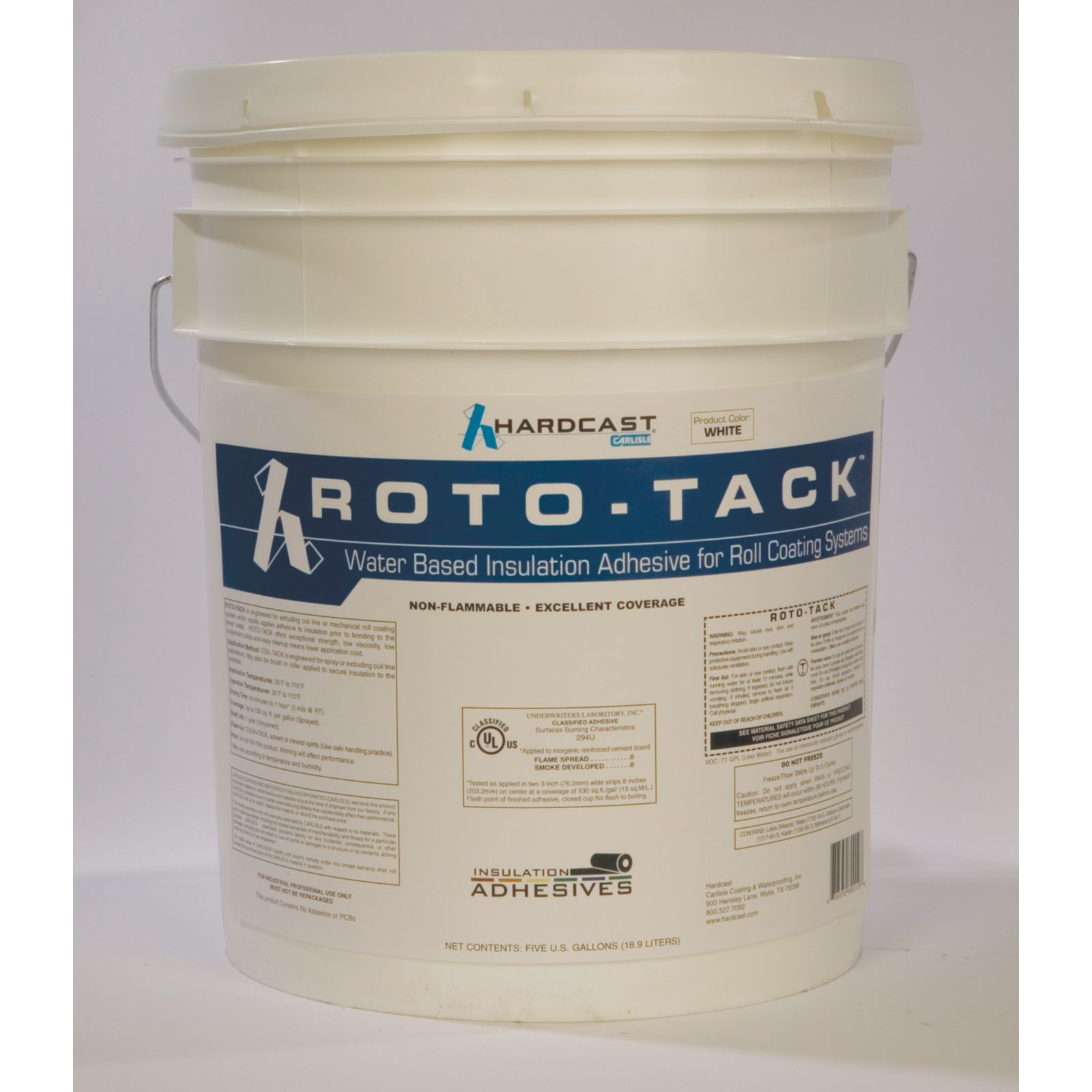 Hardcast/Carlisle 308574 - Roto-Tack Mid Tack, High Yield Water-Based Insulation Adhesive, Clear, 5 Gallon Pail