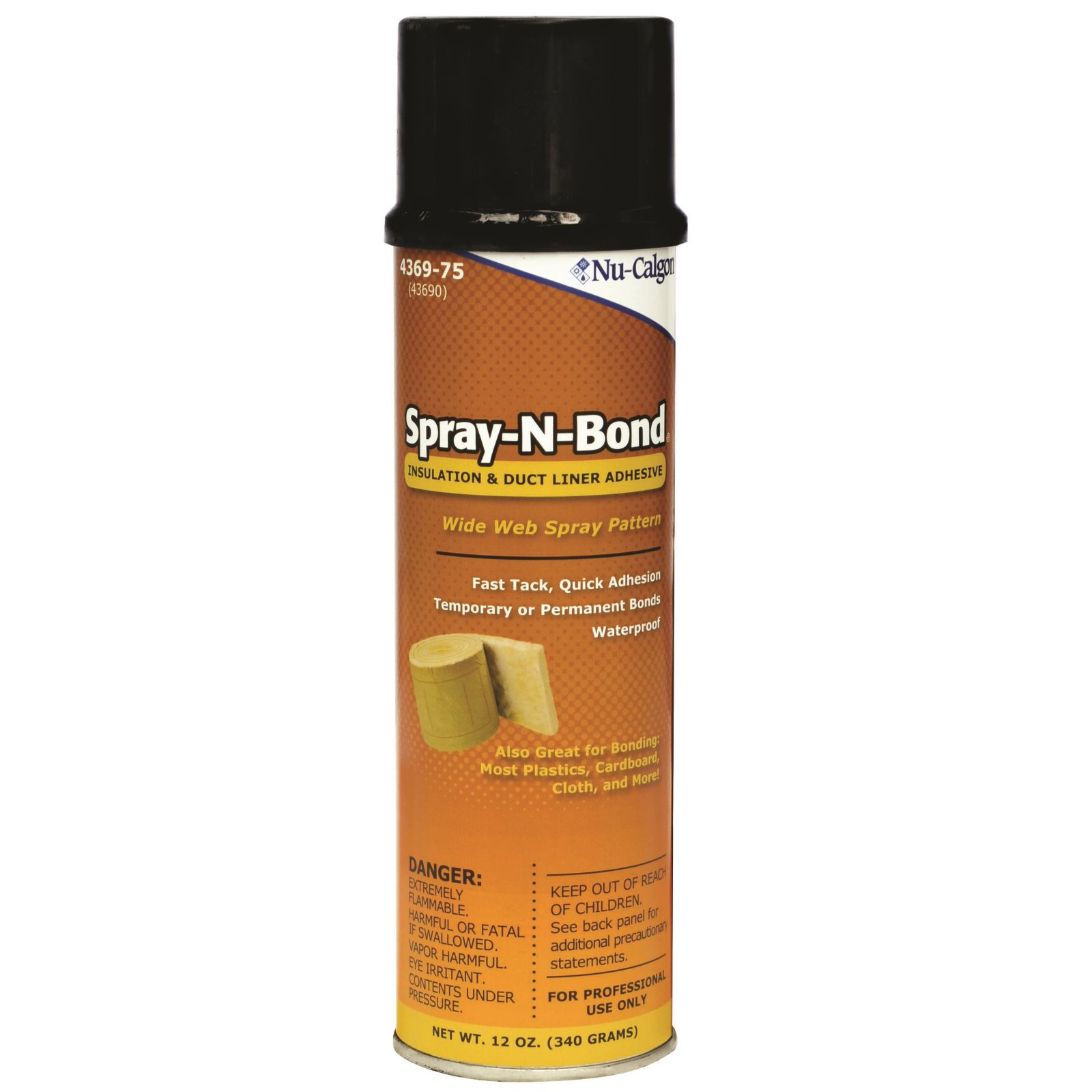 Nu-Calgon 4369-75 - Spray-n-Bond Insulation And Duct Liner Adhesive - 12 Ounce Aerosol