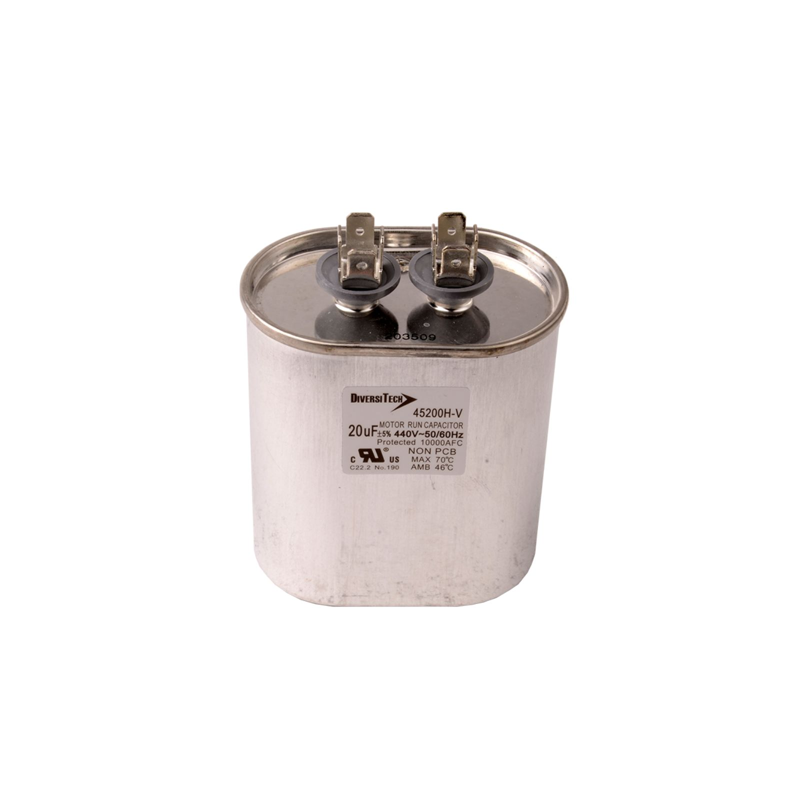 DiversiTech 45200H - Motor Run Capacitor, Oval, 20/440,  Can Height- 2.56""