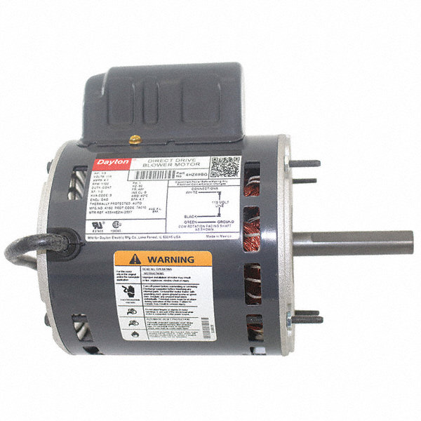 DAYTON 1/3 HP Direct Drive Blower Motor, Permanent Split Capacitor, 1100 Nameplate RPM, 115 Voltage
