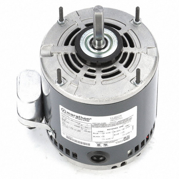 MARATHON MOTORS 1/6 HP Direct Drive Motor, Permanent Split Capacitor, 1075 Nameplate RPM, 115 VoltageFrame 48Z