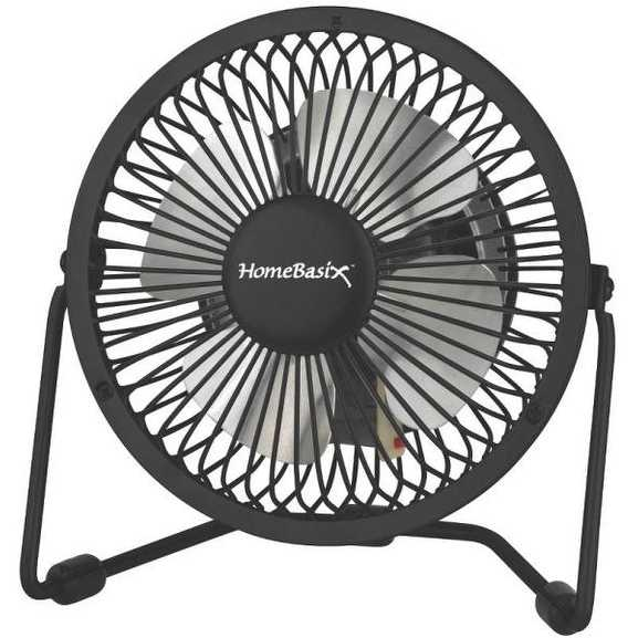 Homebasix CZHV4RSB-BK 1-Speed Mini Fan, Black, 4'