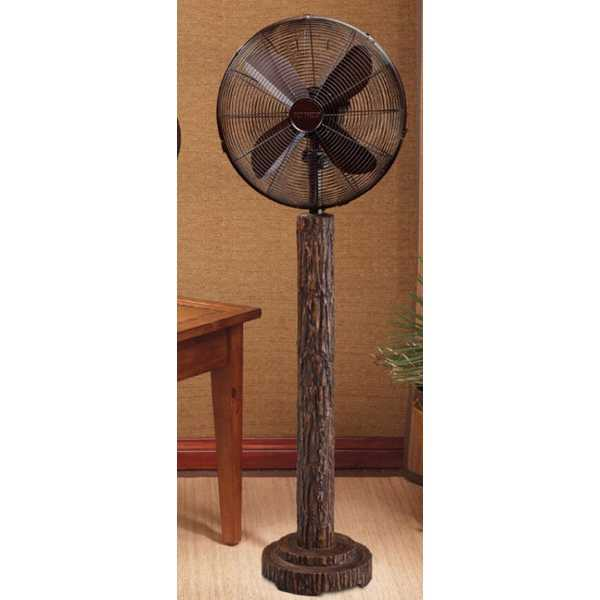 55' Rustic Style Fir Bark Oscillating Standing Floor Fan