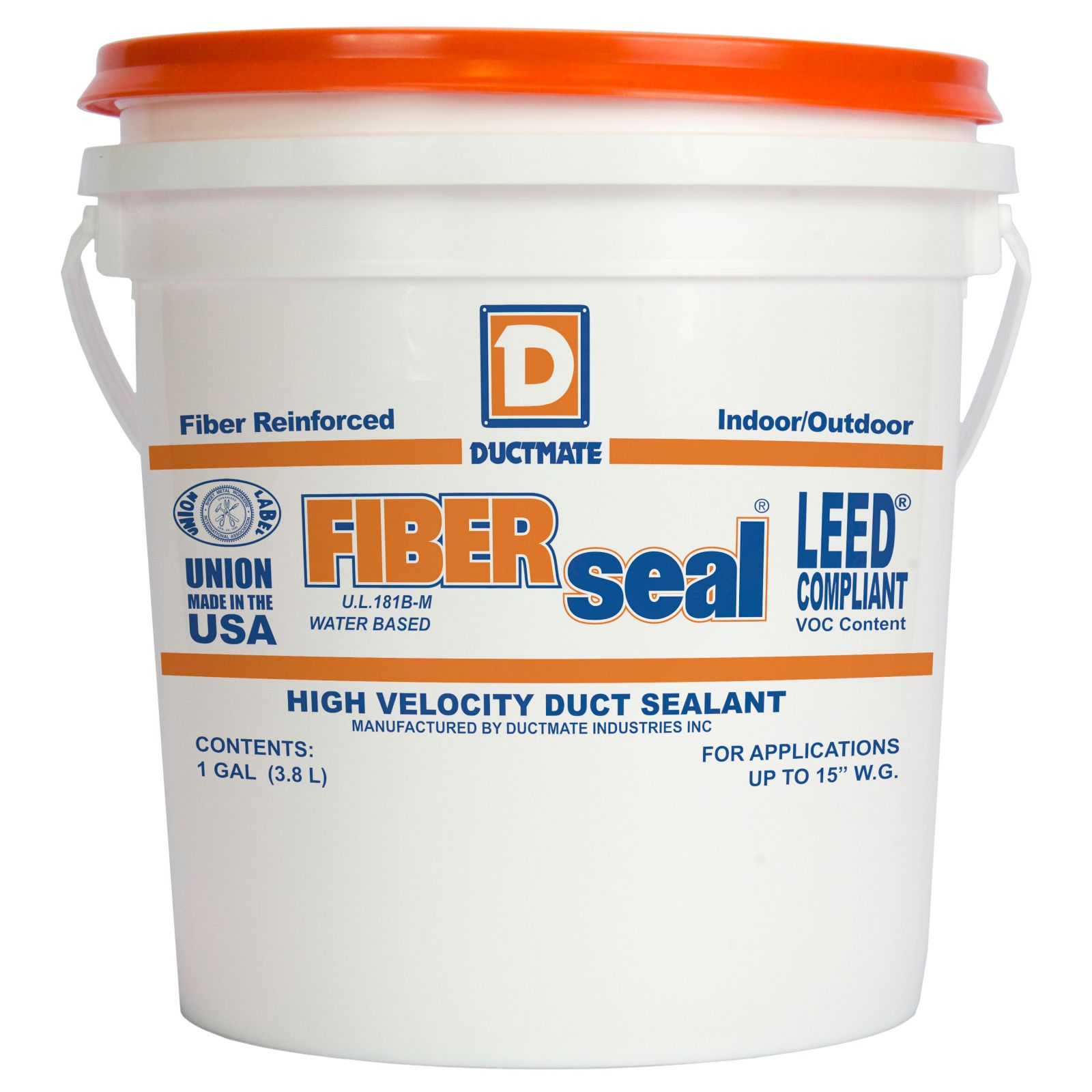 Ductmate FIBERSEAL1 - Premium Water Based High-Velocity, Fiber Reinforced Duct Sealant - 1 Gallon